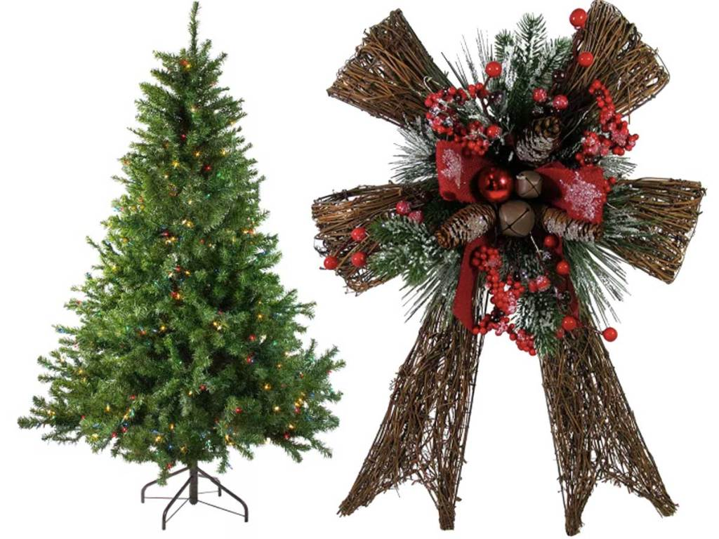 christmas tree and door wreath bow stock images
