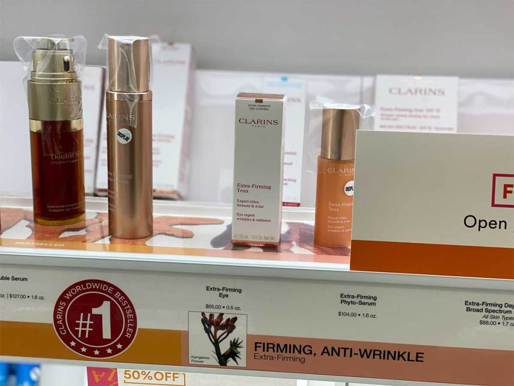 skincare on display in store