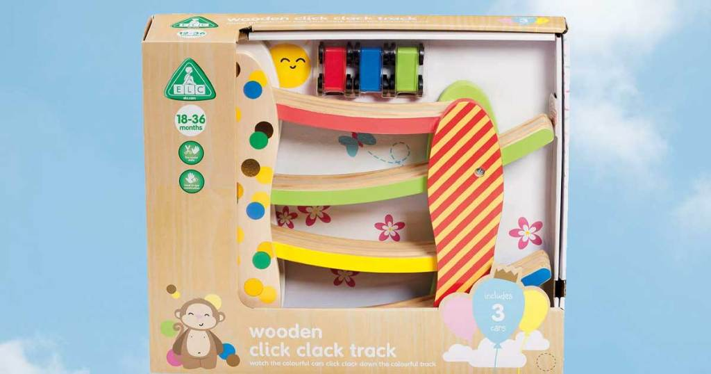 wooden click clack track toy