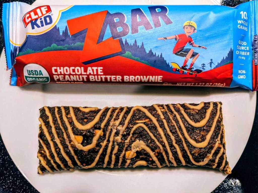 chocolate peanut butter brownie kids zbar in package and out