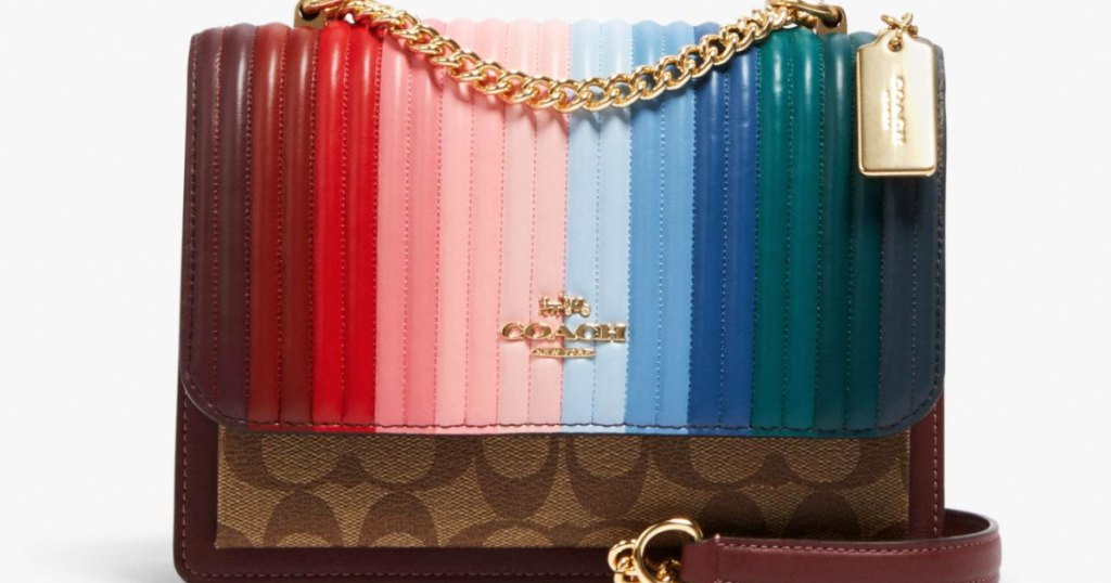 coach rainbow satchel with gold chain detail