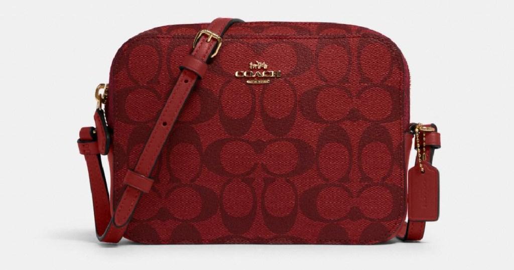 coach round camera bag in red