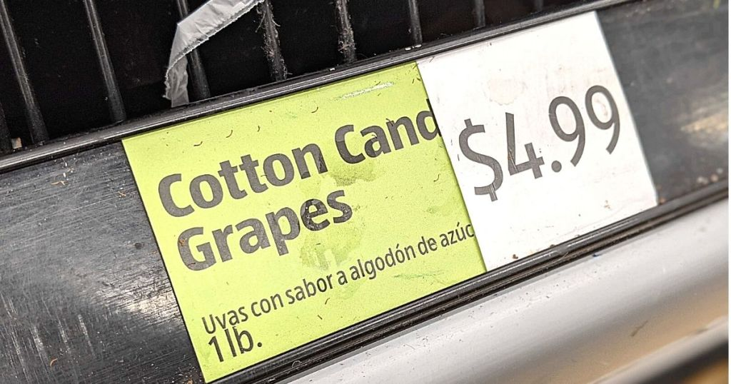 Cotton Candy Grapes sign