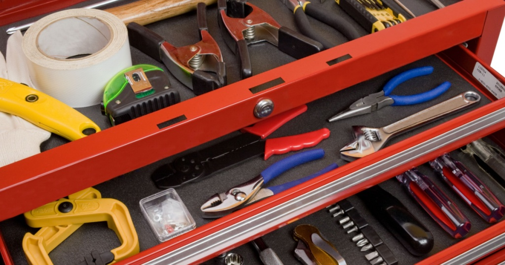 open view of craftsman tool box drawers with tools in it