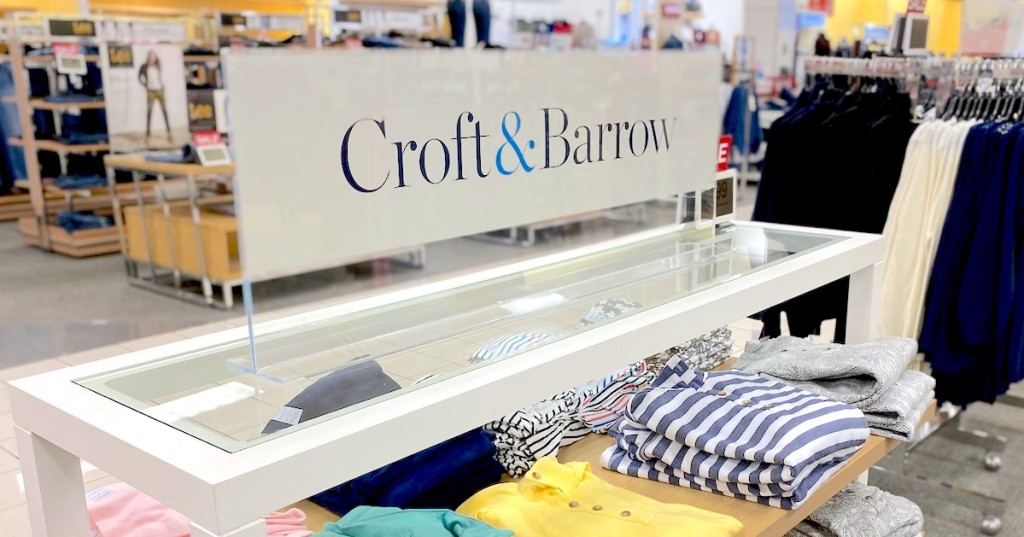 croft and barrow sign on store clothing display shelf