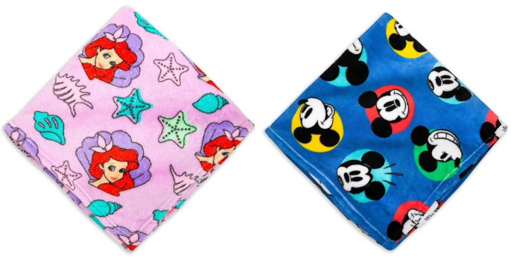 disney fleece blanket ariel and mickey mouse