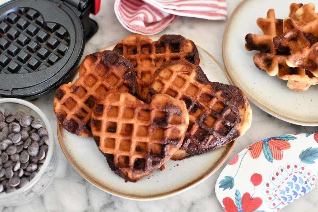 easy heart shaped waffle cookies on a plate
