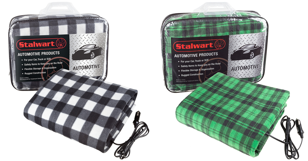 electric car blankets in green plaid and black plaid