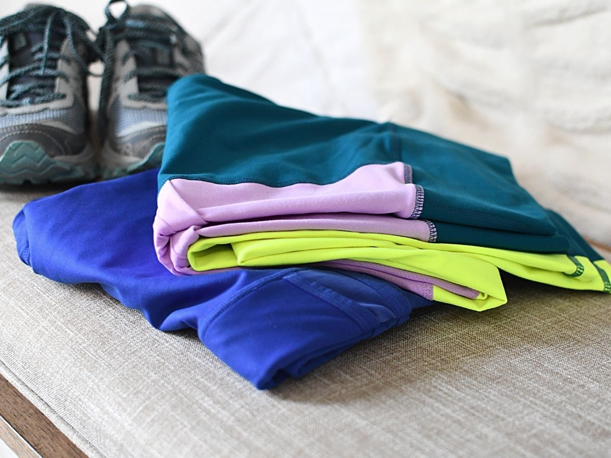 two pairs of leggings folded and stacked
