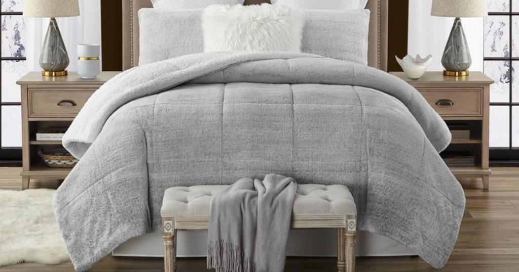 faux fur comforter in grey