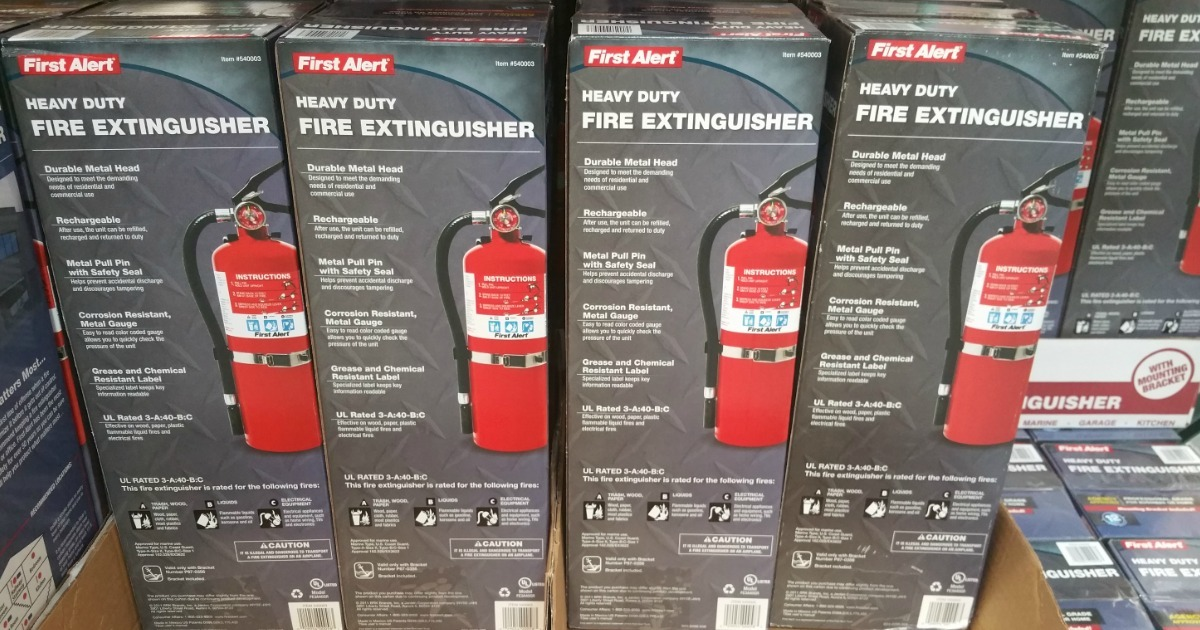 First Alert Fire Extinguisher in boxes at costco