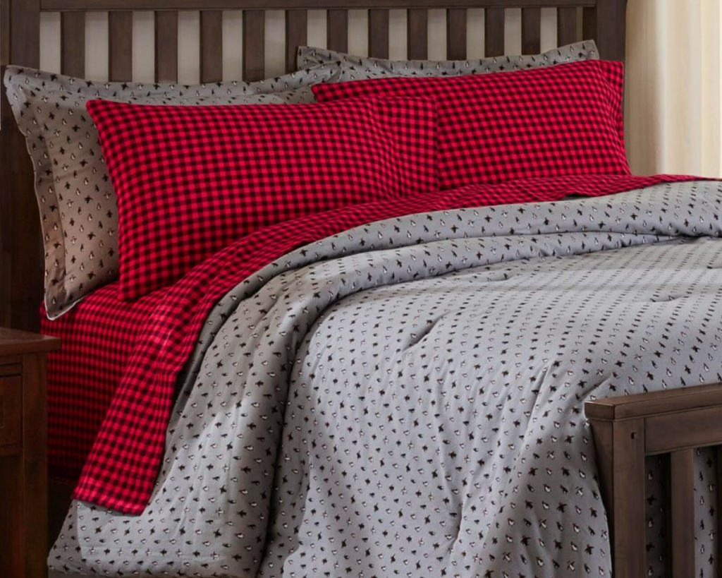 flannel sheets set on bed