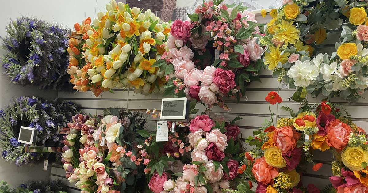 floral wreaths handing in store