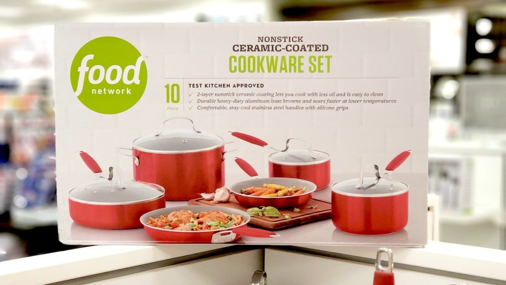 box of food network cookware on store shelf