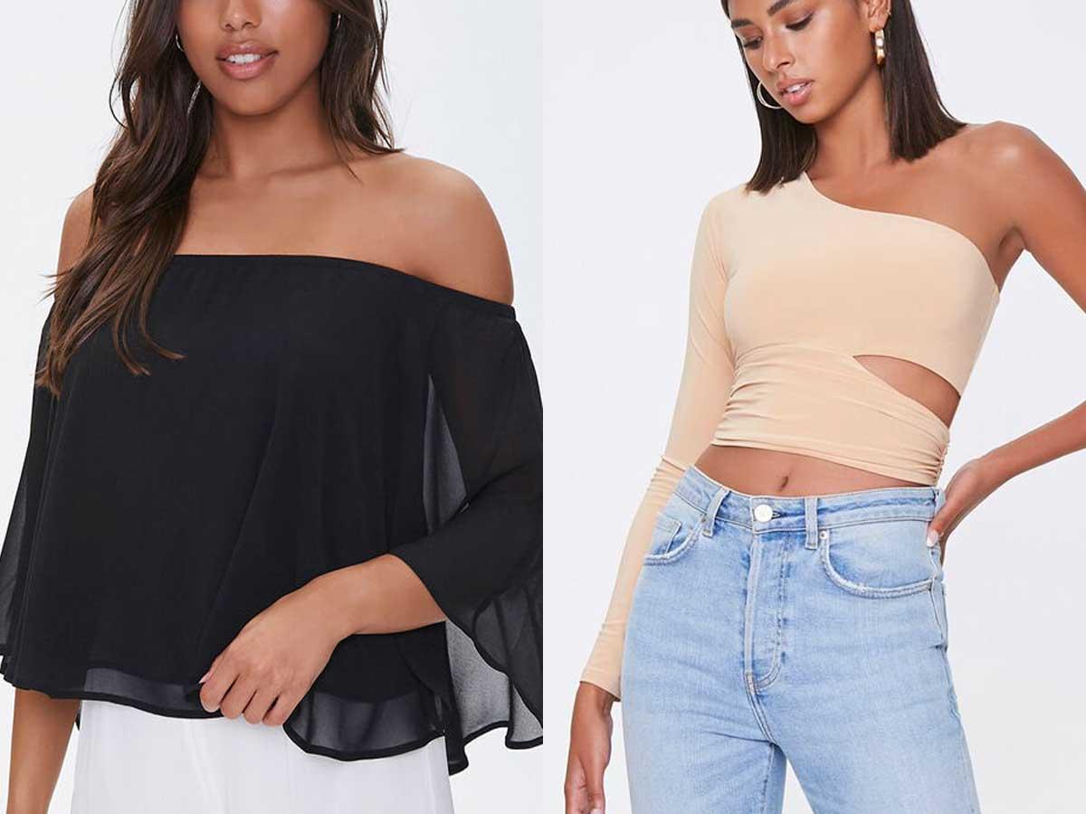 models wearing black and tan tops