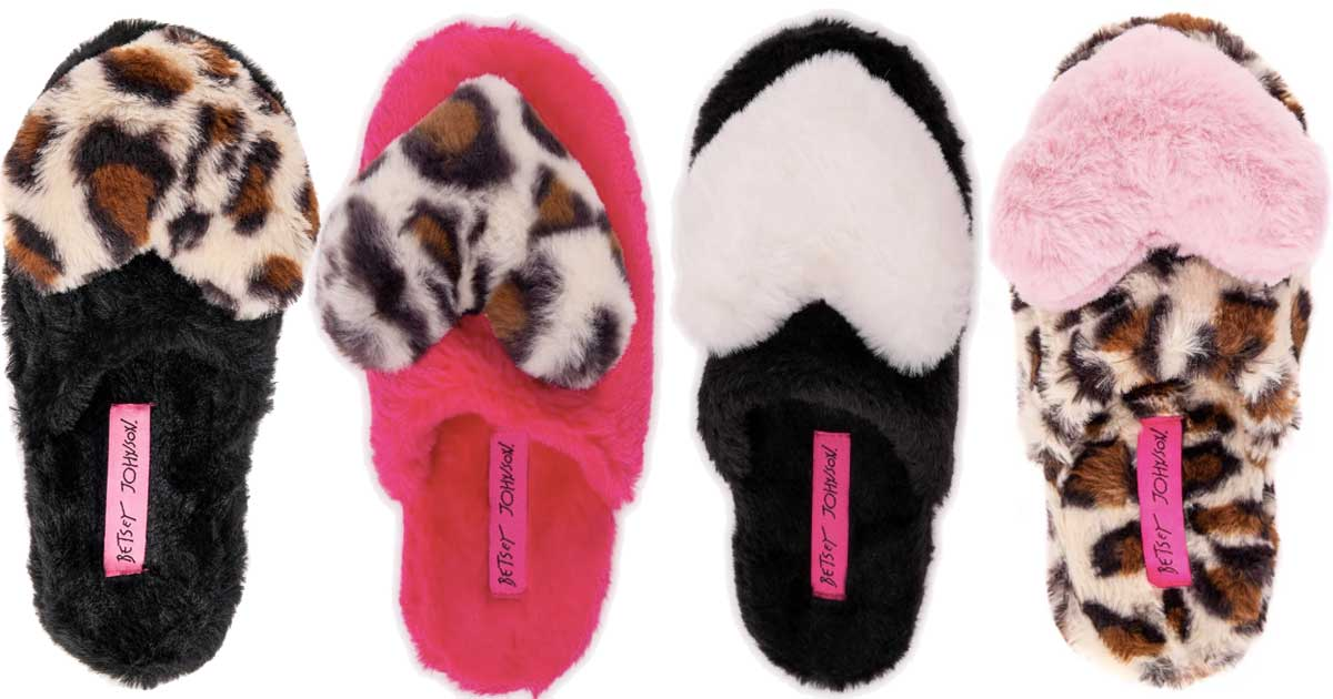pairs of fuzzy heart slippers