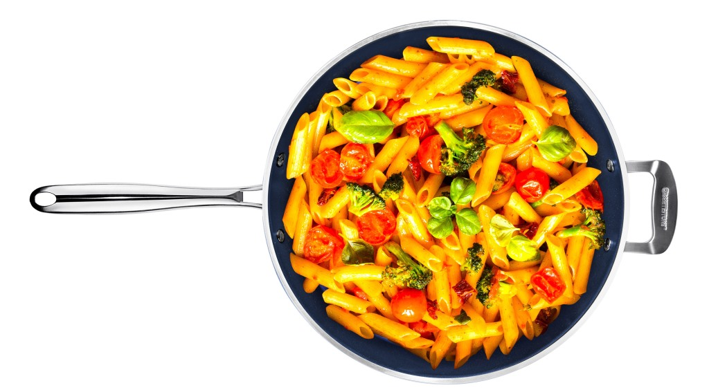 frying pan with pasta in it