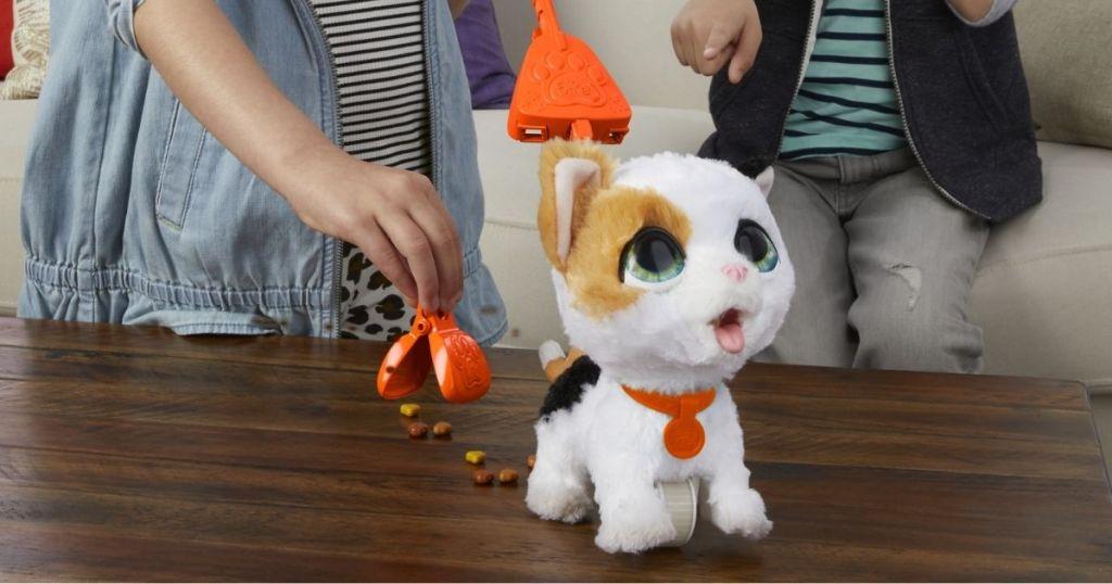 kids playing w/ furReal Poopalots Big Wags Interactive Kitty
