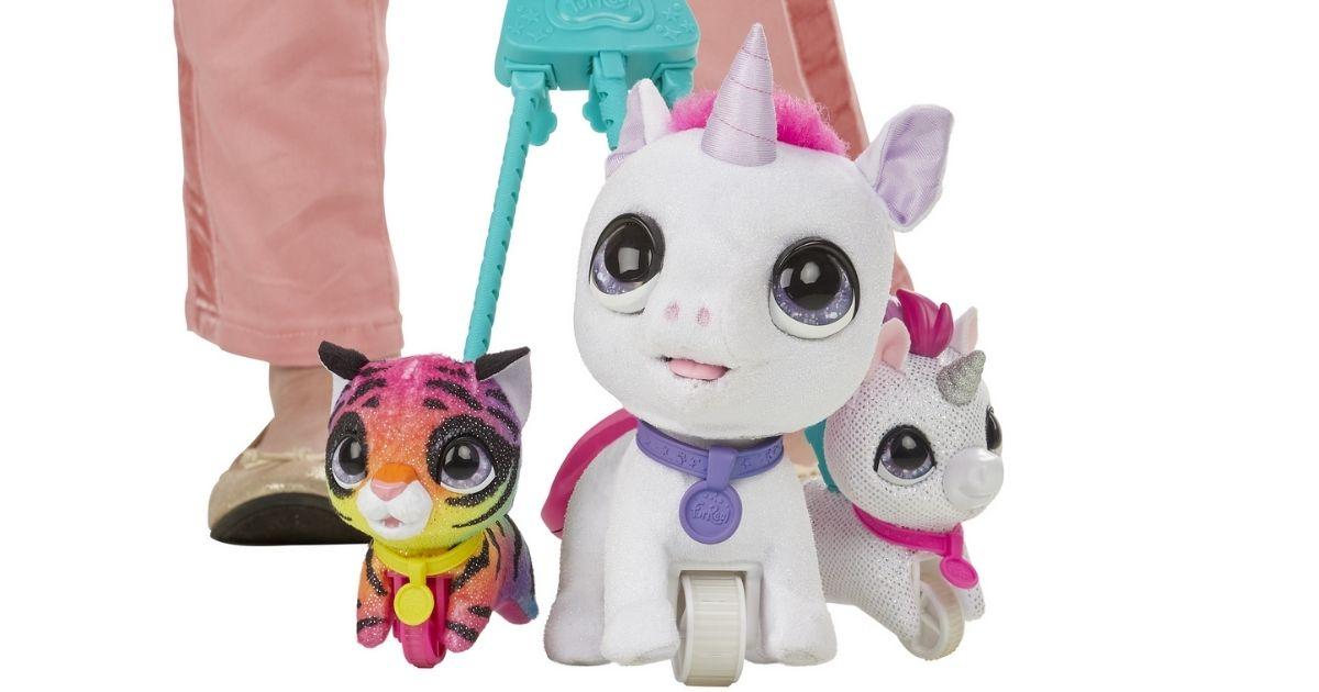 furReal Walkalots unicorn on leash