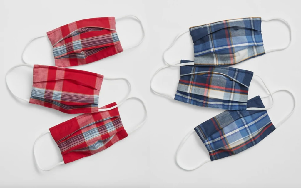 gap factory kids plaid face masks red and blue plaid