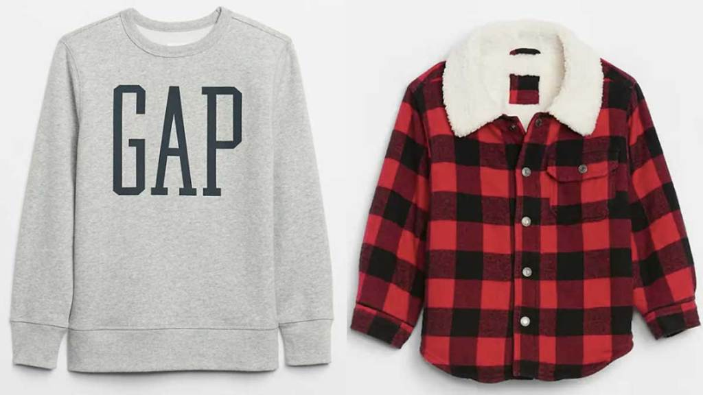 gap sweatshirt and baby jacket
