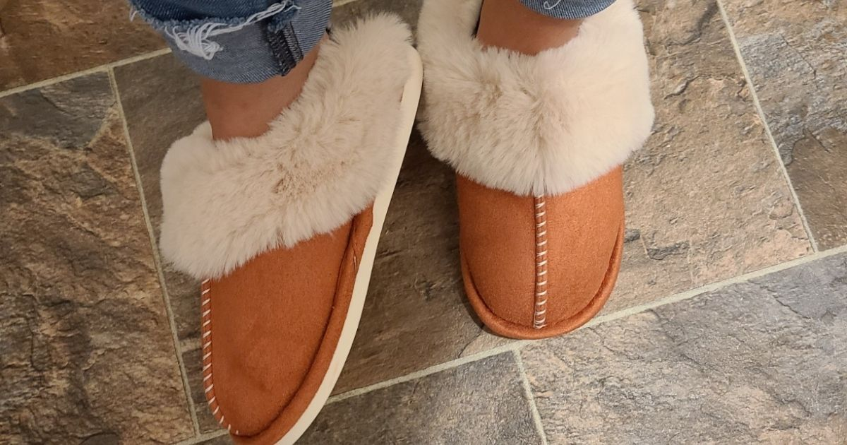 woman wearing brown and white fluffy slippers
