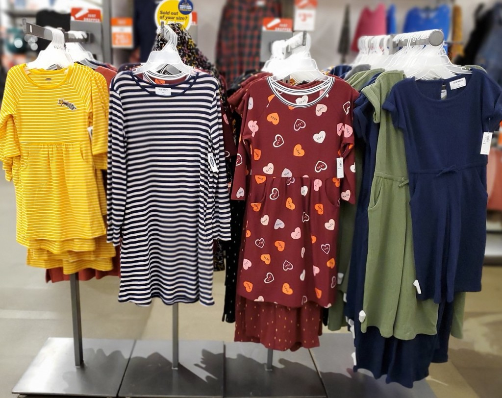girls dresses at old navy in store hanging up
