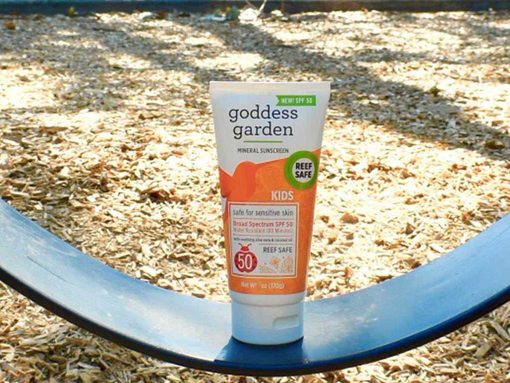 tube of sunscreen on a swing