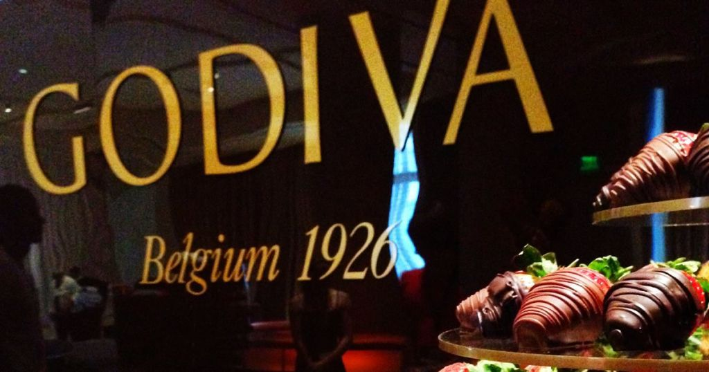 Godiva sign inside chocolate boutique