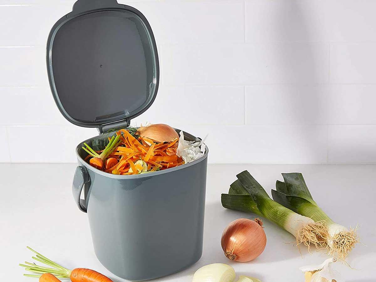 gray tabletop compost bin