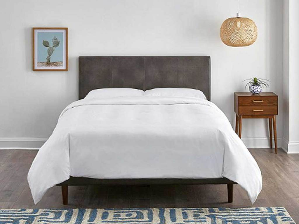 StyleWell McCarrick Gray Upholstered Leather Queen Bed