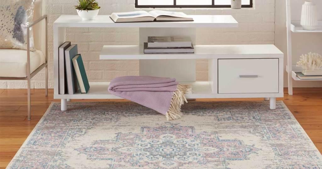 pink gray rug in living room on floor