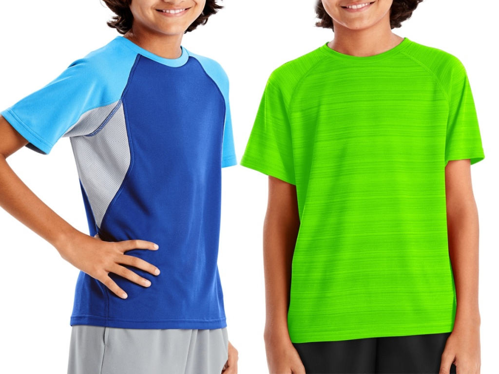 boys wearing blue and neon green tees