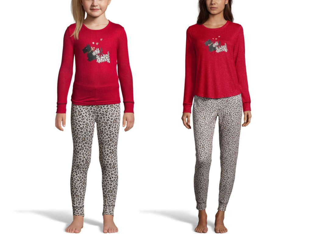 girl and woman in matching leopard dog pajamas