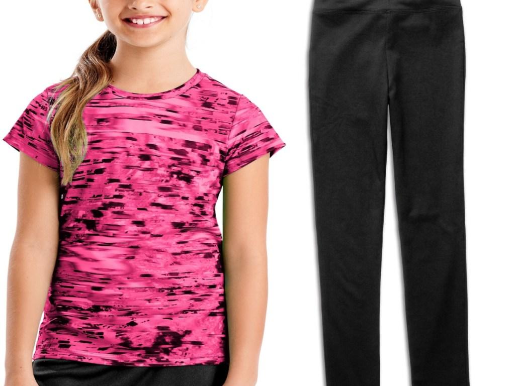 girl wearing black and pink tee and black leggings
