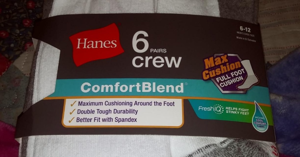 hanes crew socks in package
