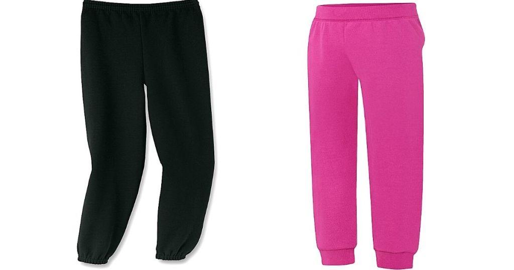 black sweats and pink sweats