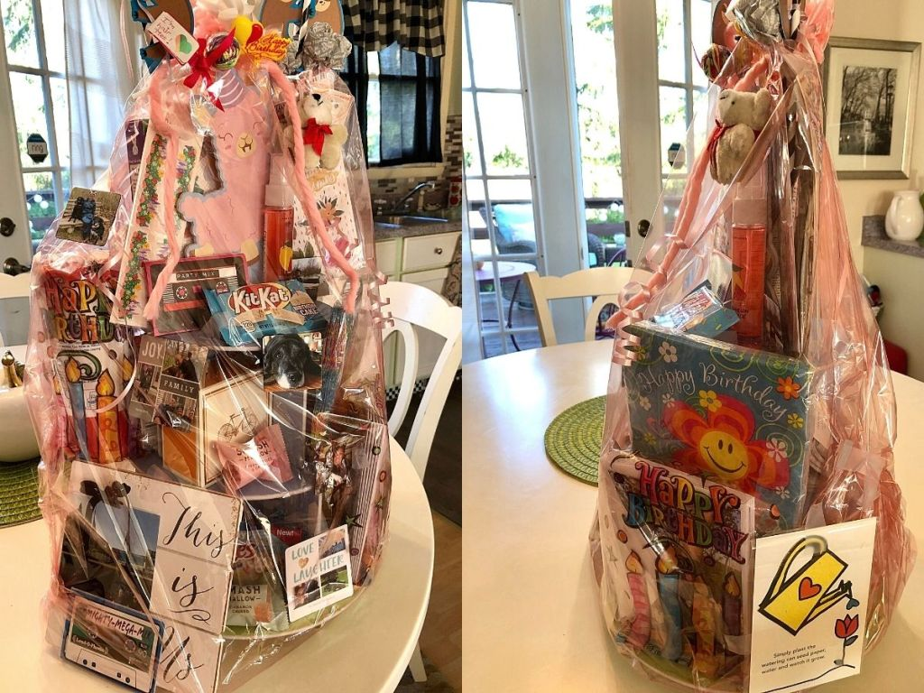 two gift baskets filled food and gifts