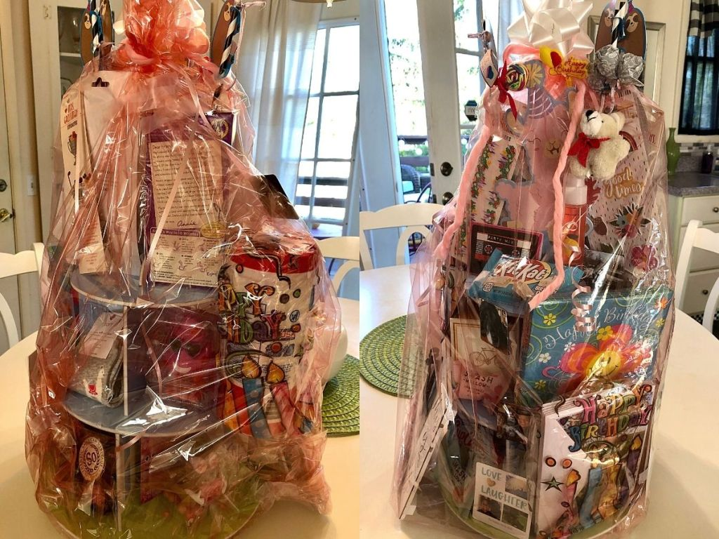 two gift baskets filled with gifts and candy