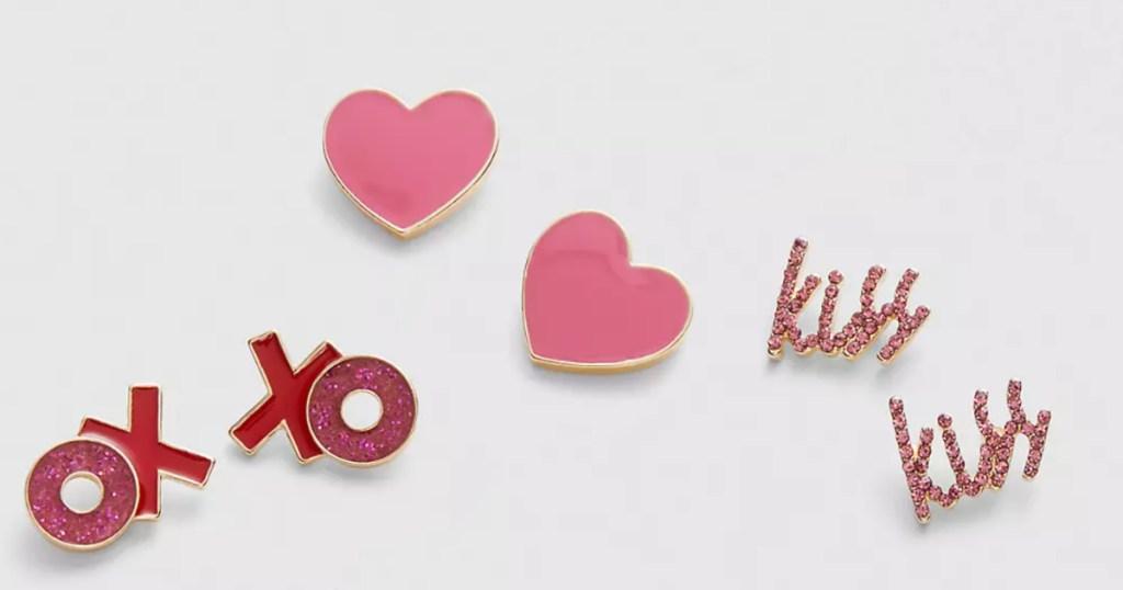 heart earrings OX XO earrings and kiss earrings