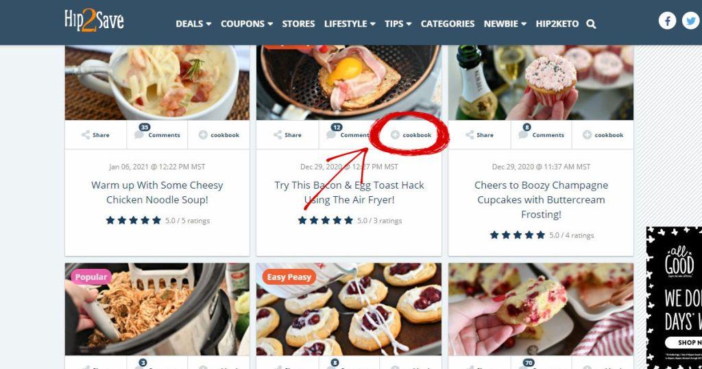 screenshot of cookbook icon on Hip2Save.com