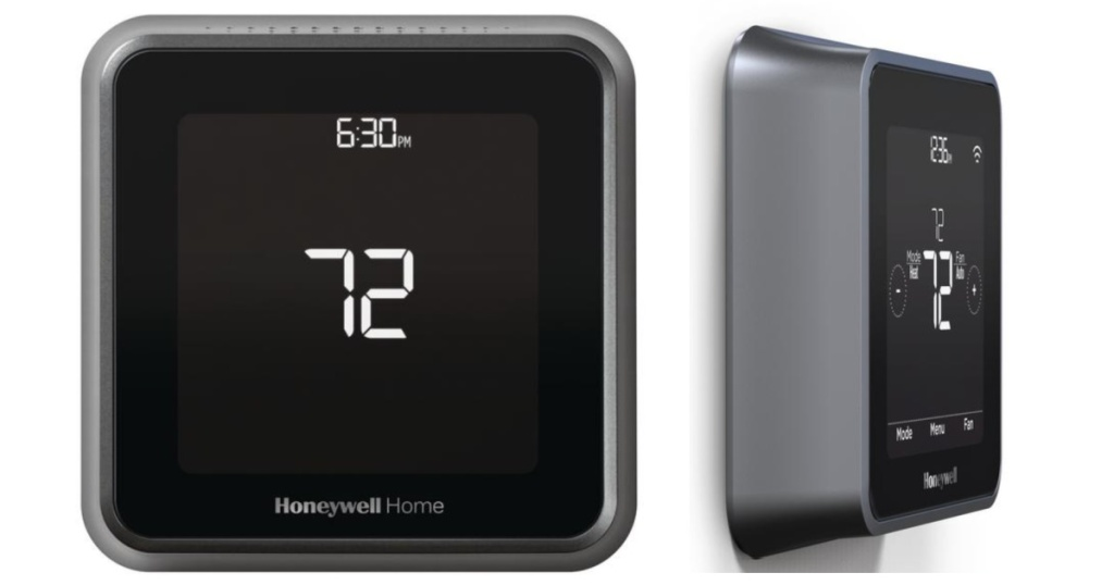 honeywell thermostat black front and side angle