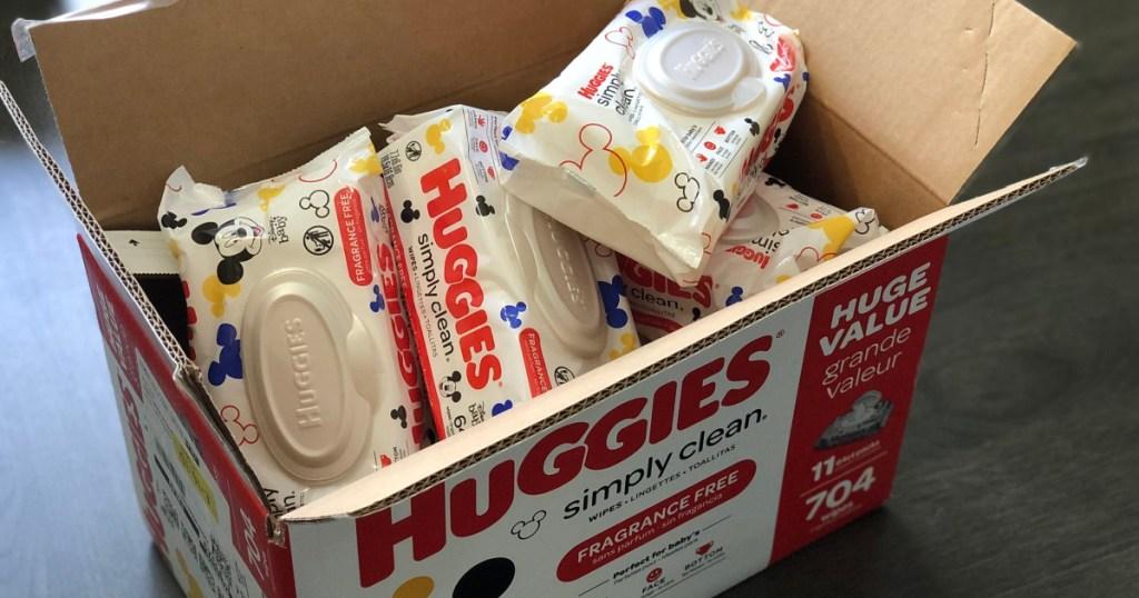 huggies simply clean wipes in box