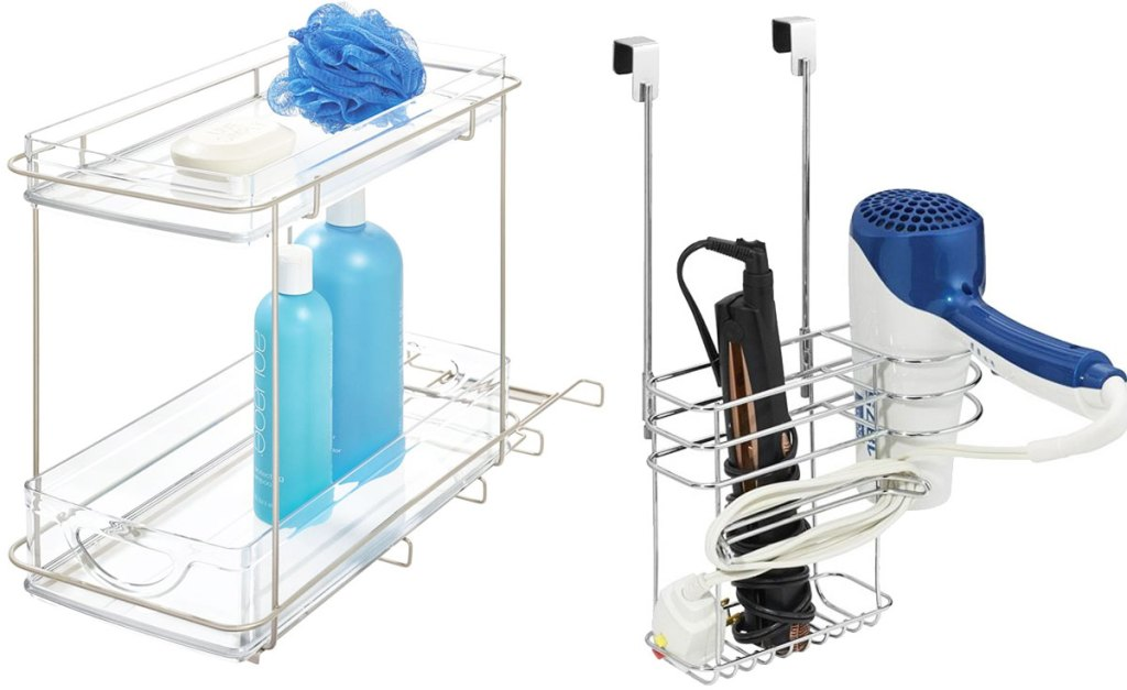 two tier bathroom organizer and over the door caddy for hair tools