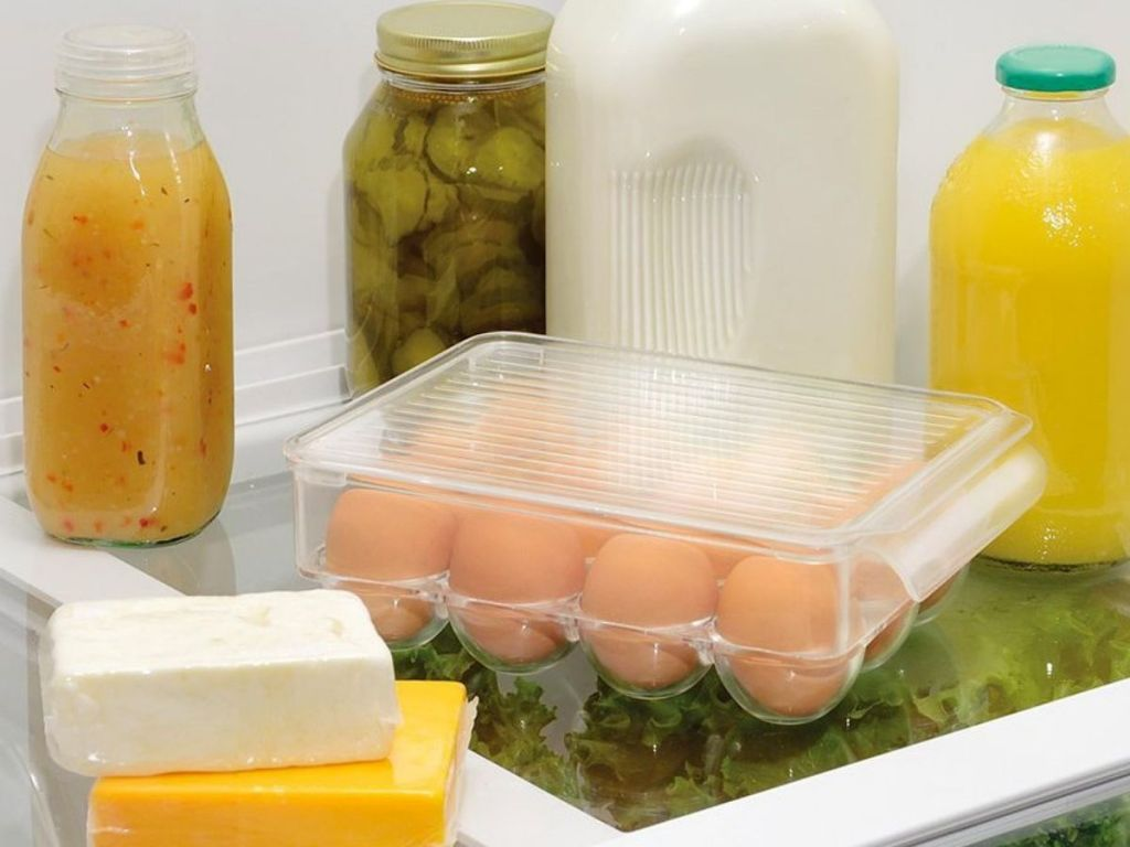 iDesign Egg Storage on refrigerator shelf