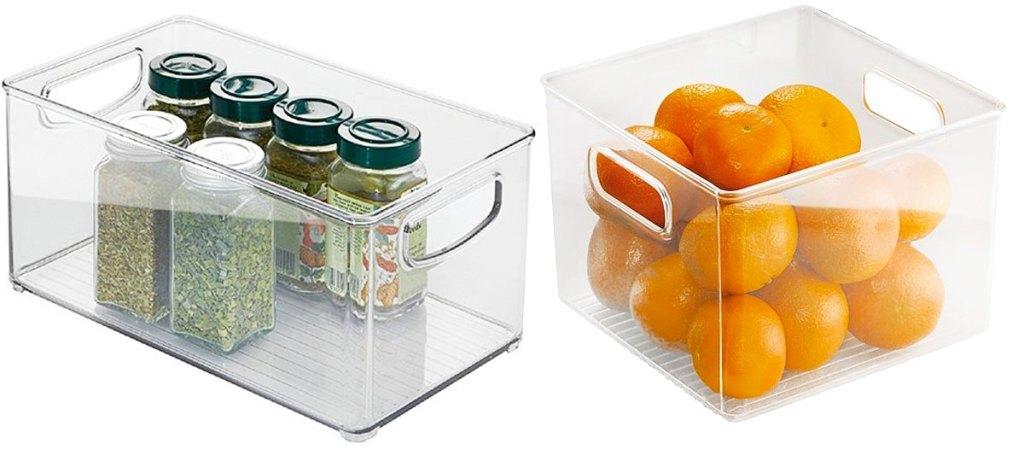 rectangular and square clear fridge organizer bins