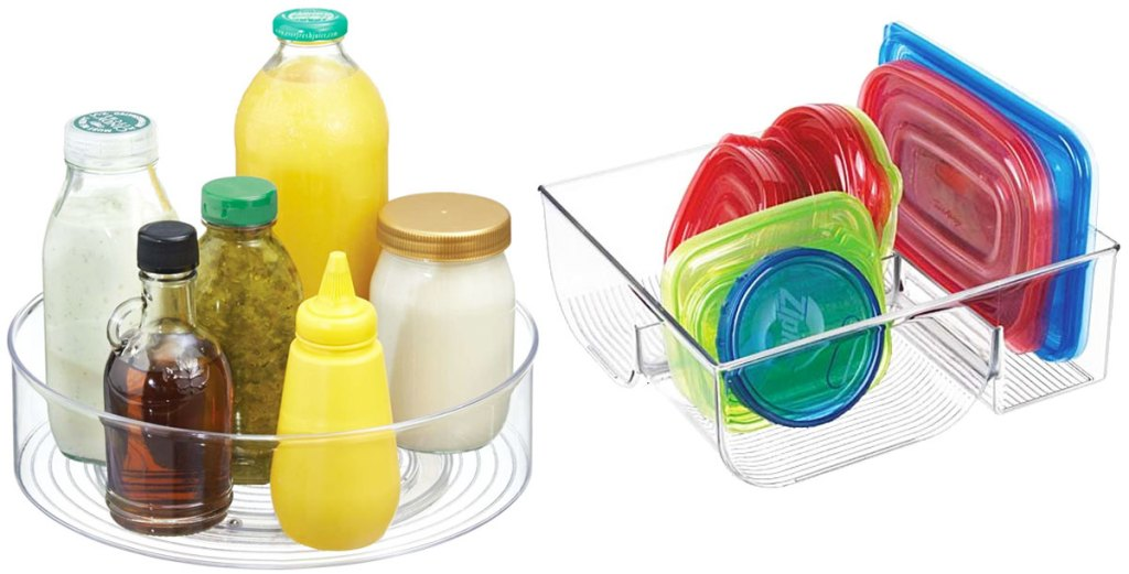 round turntable organizer with condiments inside and plastic organizer with food storage lids inside
