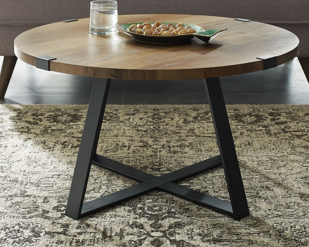 industrial coffee table with wood and steel