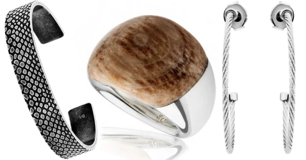 bracelet, ring and earrings on white background