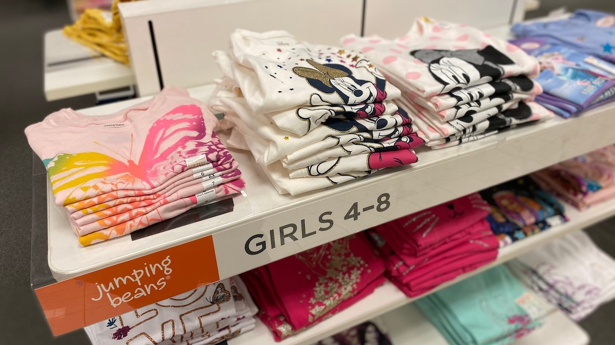jumping beans disney clothes on store display shelf